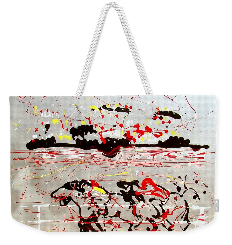 Abstract Weekender Tote Bag featuring the mixed media And Down The Stretch They Come by J R Seymour