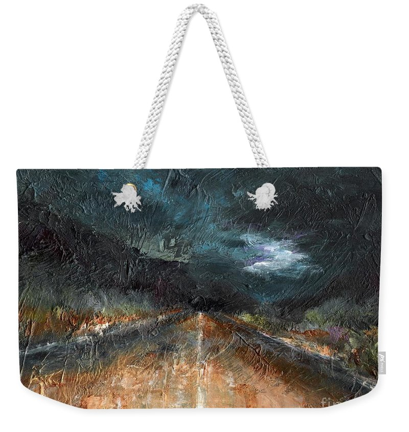 Landscape Weekender Tote Bag featuring the painting And Life Goes On by Frances Marino