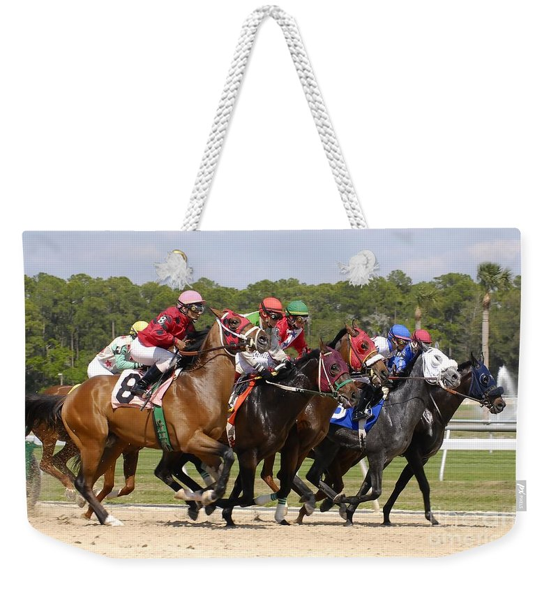 Horse Racing Weekender Tote Bag featuring the photograph And Their Off by David Lee Thompson