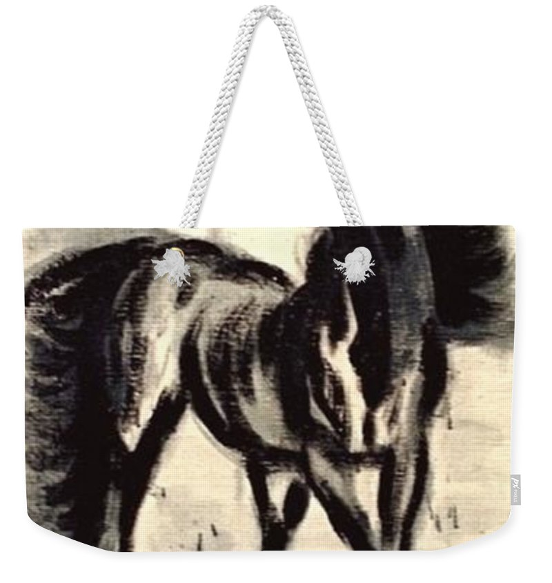 Jarko Weekender Tote Bag featuring the painting Andalusian Colt by Jarmo Korhonen aka Jarko
