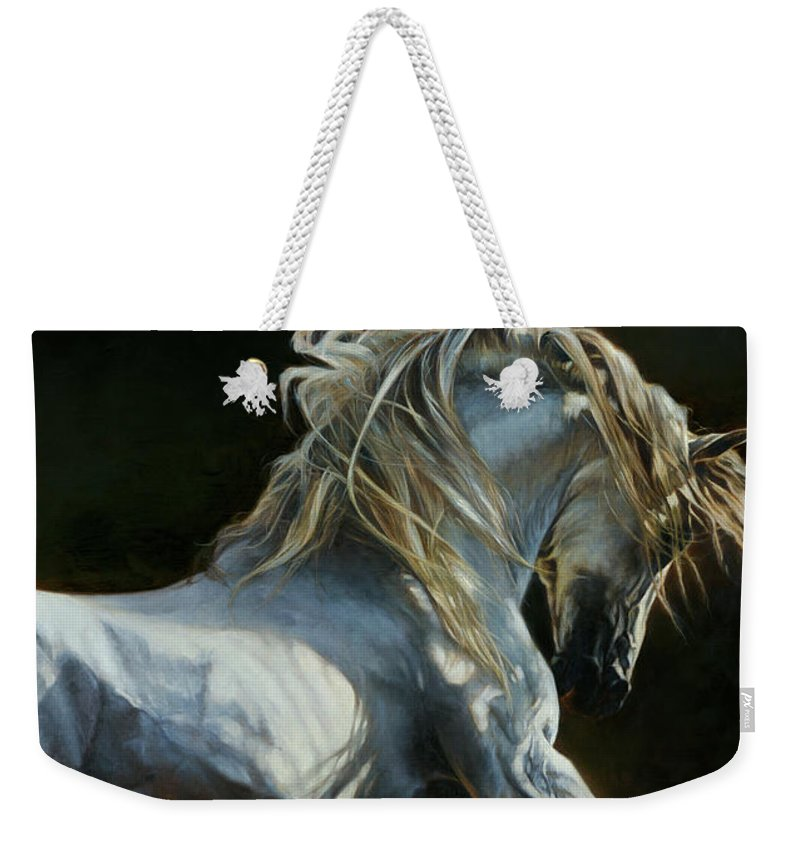 Horse Weekender Tote Bag featuring the painting Andalusian Dance II by Heather Theurer