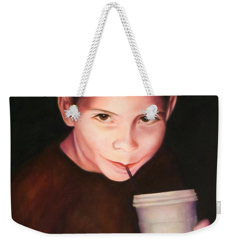 Boy Weekender Tote Bag featuring the painting Andrew by Shannon Grissom