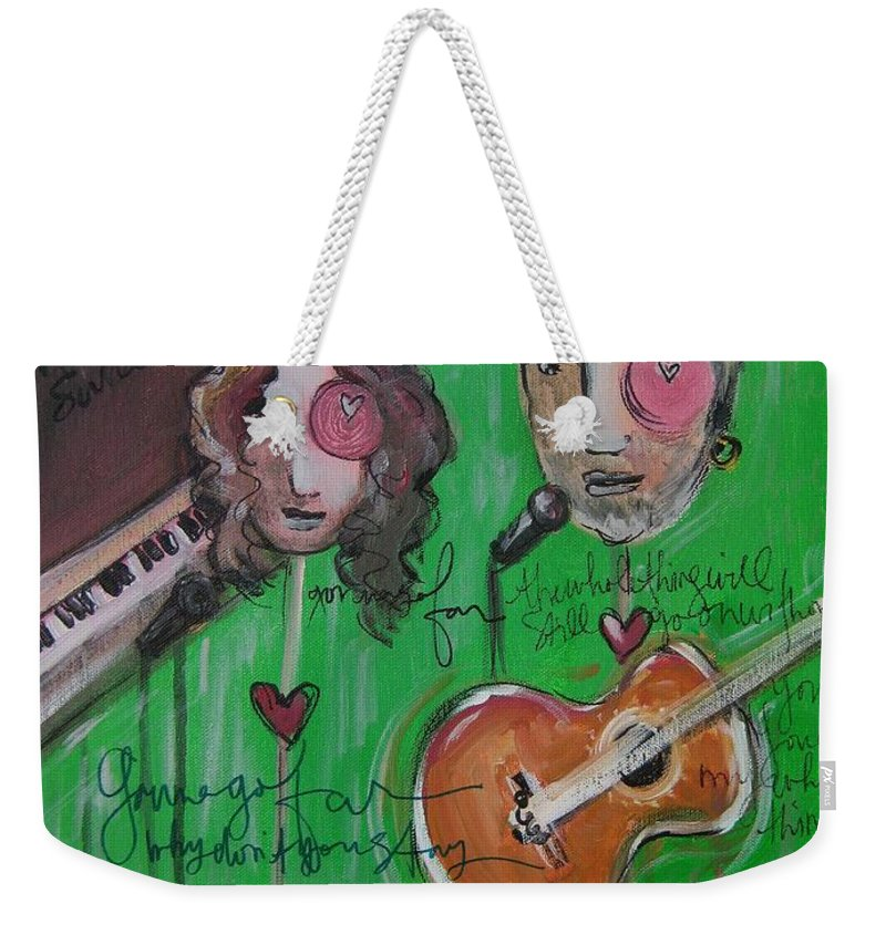 Andy White Weekender Tote Bag featuring the painting Andy White At Swallow Hill by Laurie Maves ART