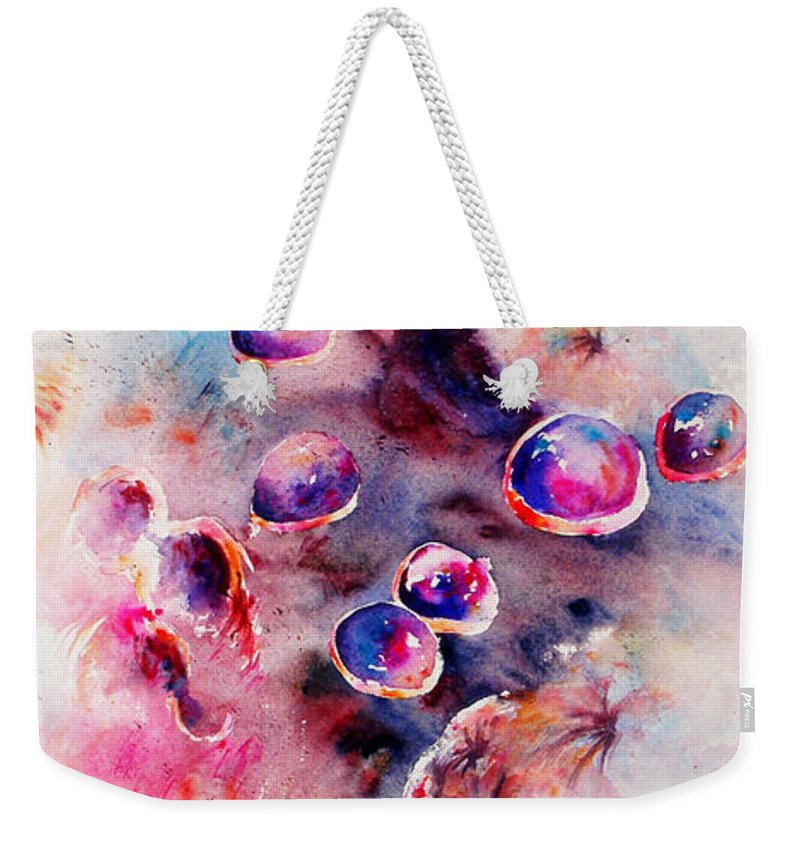 Abstract Weekender Tote Bag featuring the painting Anemone by Rachel Christine Nowicki
