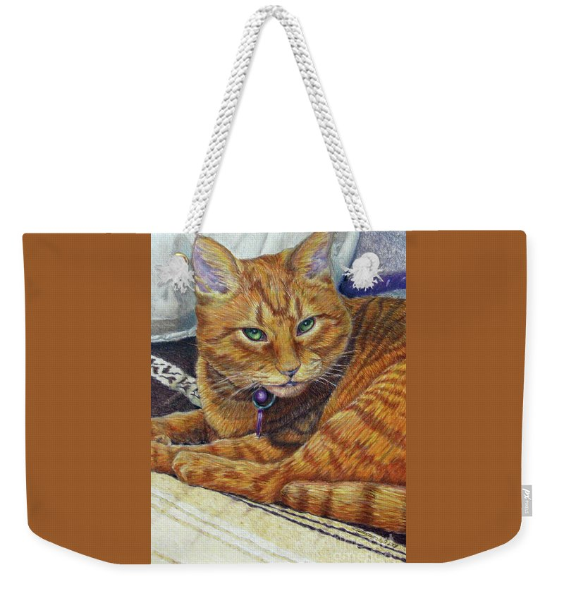 Fuqua Gallery-bev-artwork Weekender Tote Bag featuring the drawing Angel by Beverly Fuqua