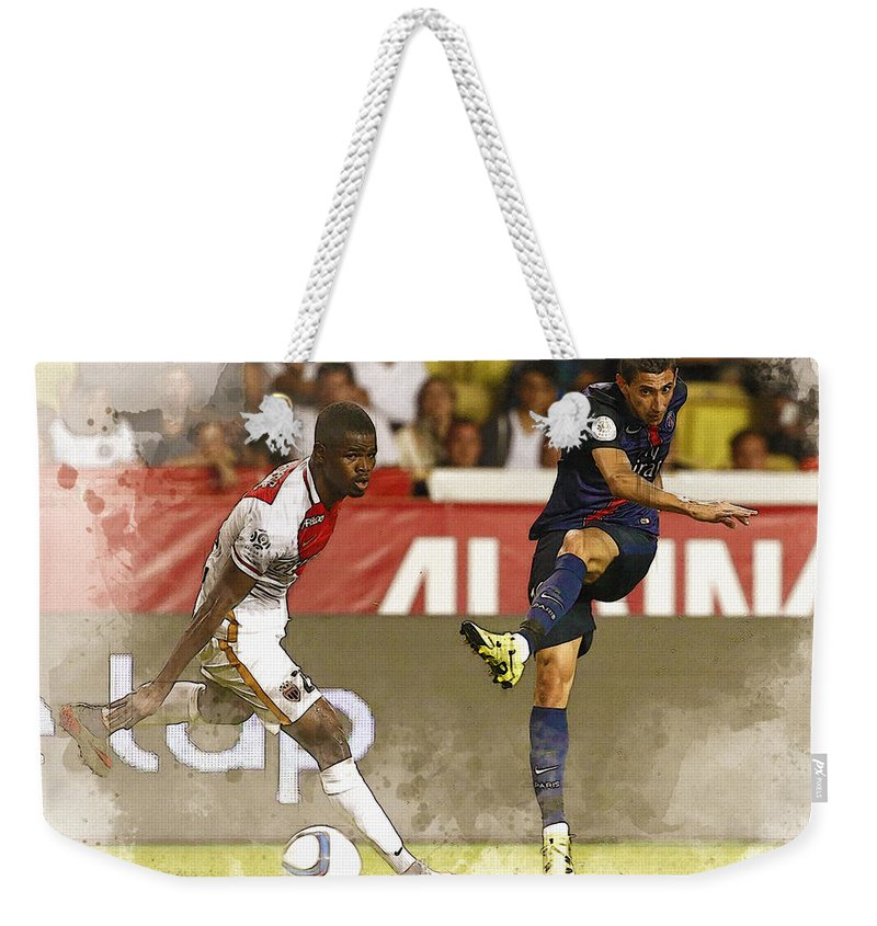 Uefa Chamipons League Weekender Tote Bag featuring the digital art Angel Di Maria Shoot The Ball by Don Kuing