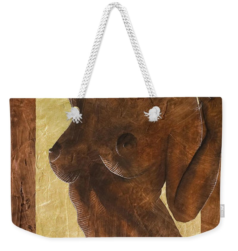 Nude Weekender Tote Bag featuring the painting Angel In Gold by Richard Hoedl