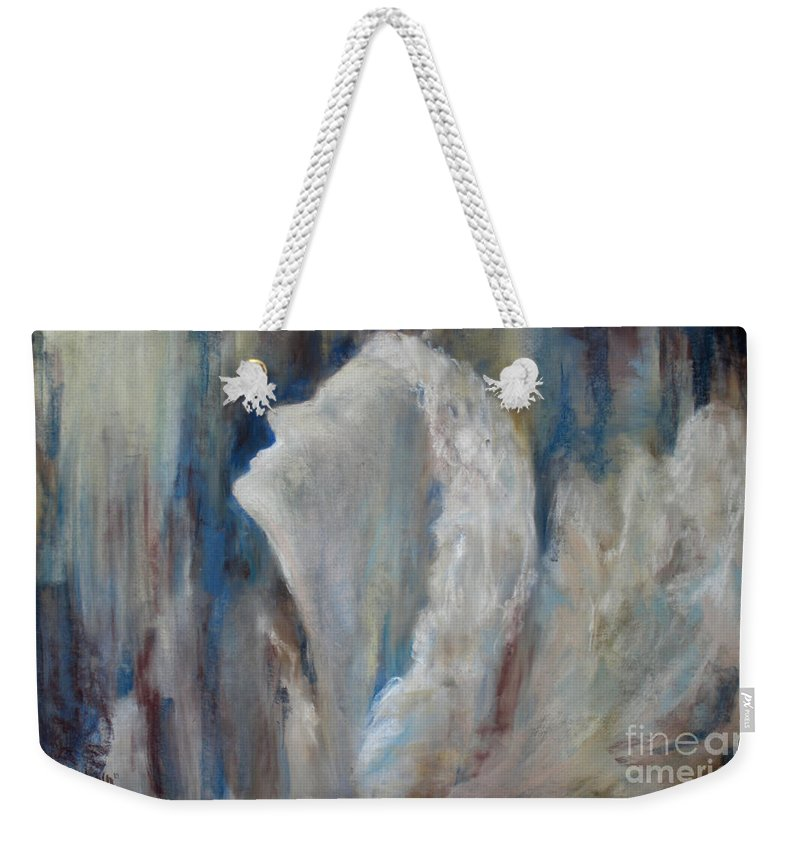 Angel Weekender Tote Bag featuring the painting Angel In Soft Pastel by Cathy Weaver