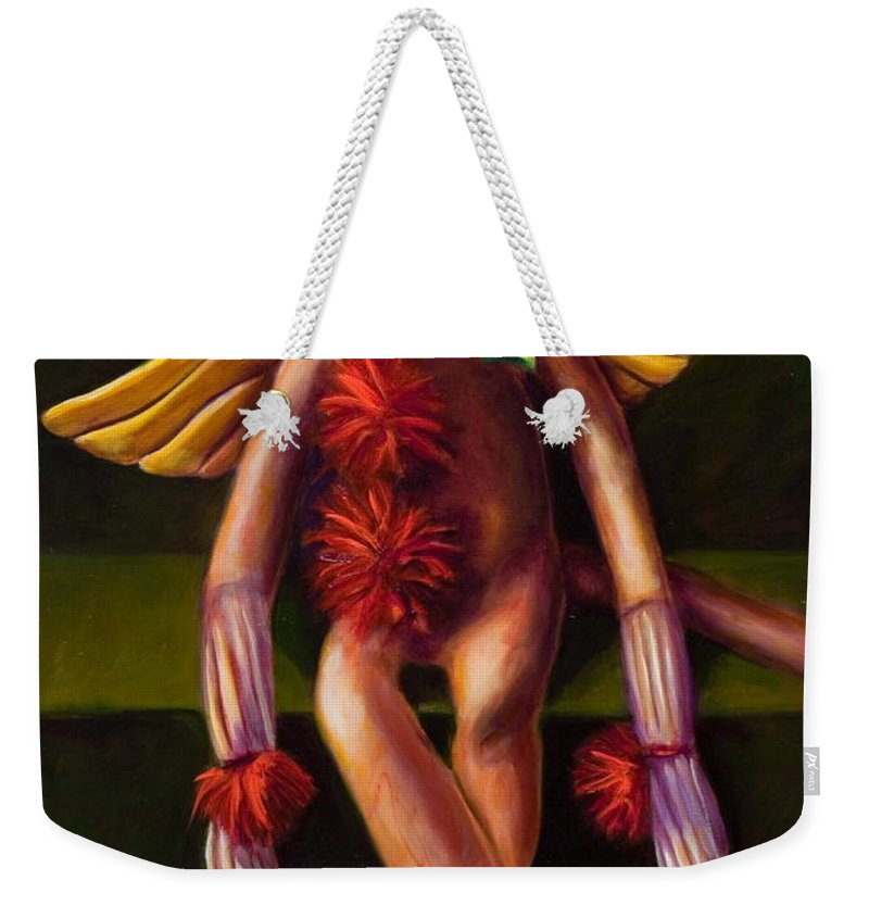 Sock Monkey Angel Weekender Tote Bag featuring the painting Angel Made Of Sockies by Shannon Grissom