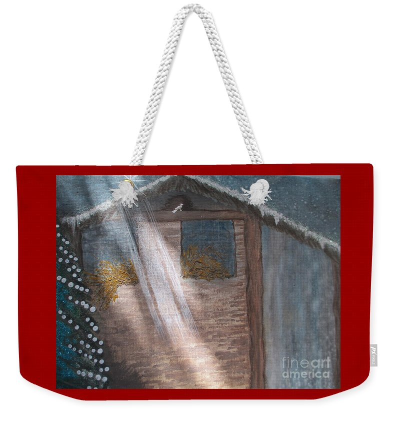 Manger Weekender Tote Bag featuring the painting Angel Of Light by Lynn Lane