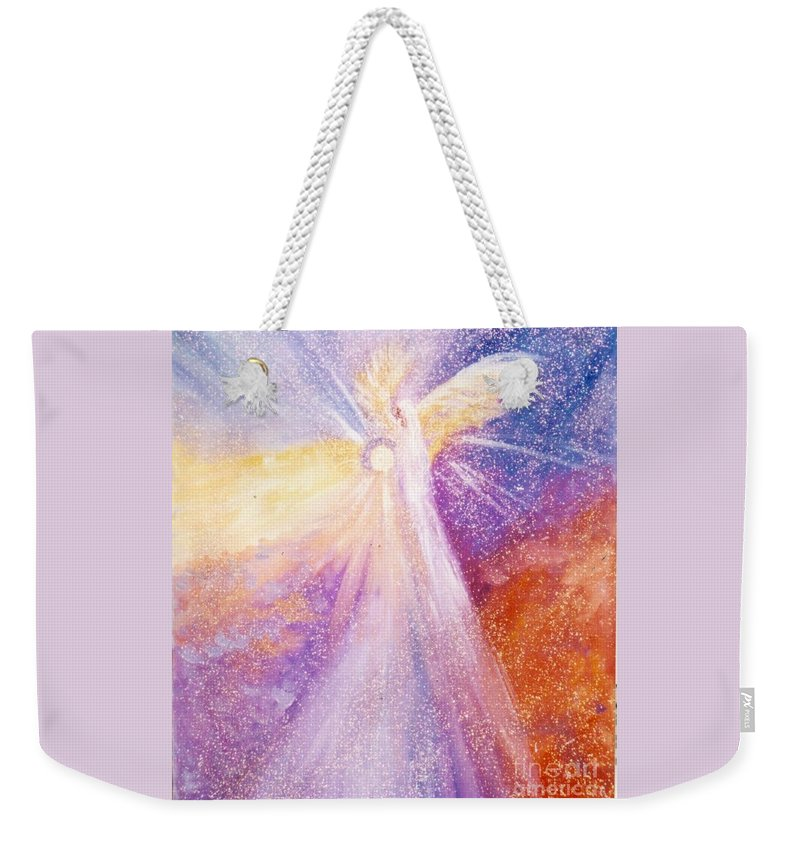 Angel Weekender Tote Bag featuring the painting Angel Of Light by Sandy Sereno