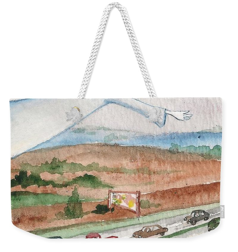 Print Weekender Tote Bag featuring the painting Angel Of Safety by Margaryta Yermolayeva