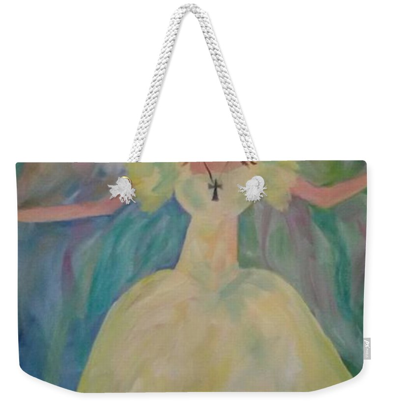 Yellow Weekender Tote Bag featuring the painting Angel Of Sunshine by Linda Watson