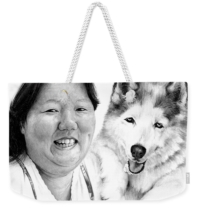 Portrait Weekender Tote Bag featuring the drawing Angel On My Shoulder by Rachel Christine Nowicki