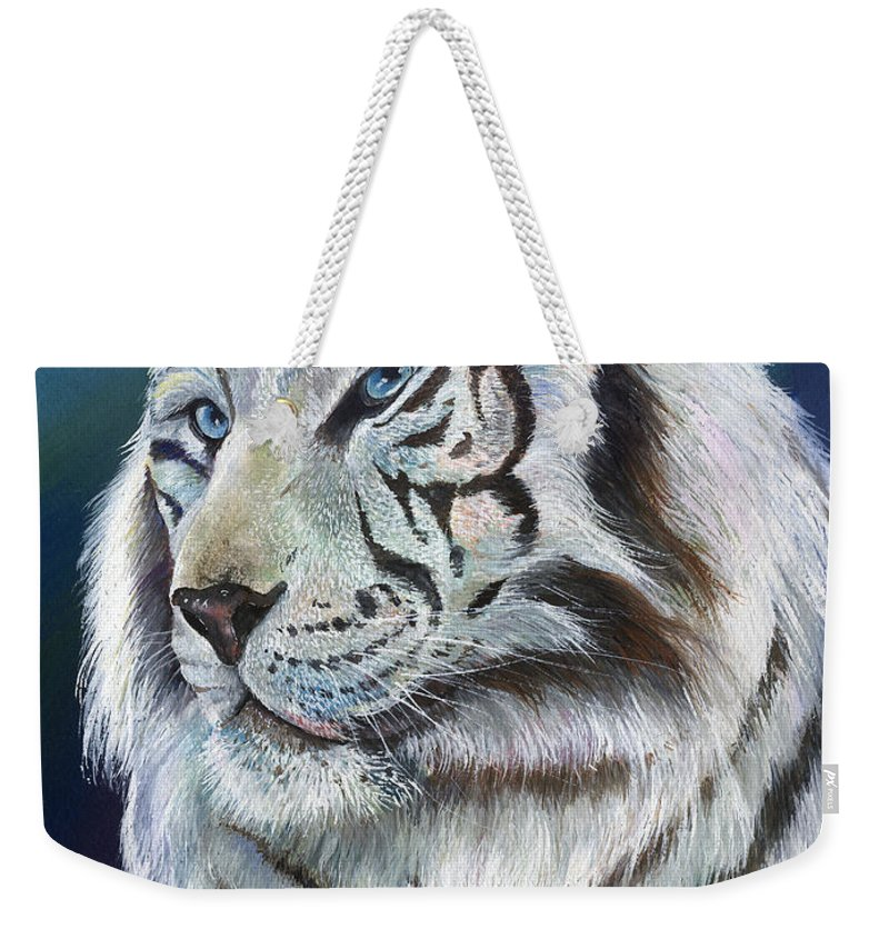 Big Cat Weekender Tote Bag featuring the painting Angel The White Tiger by Sherry Shipley