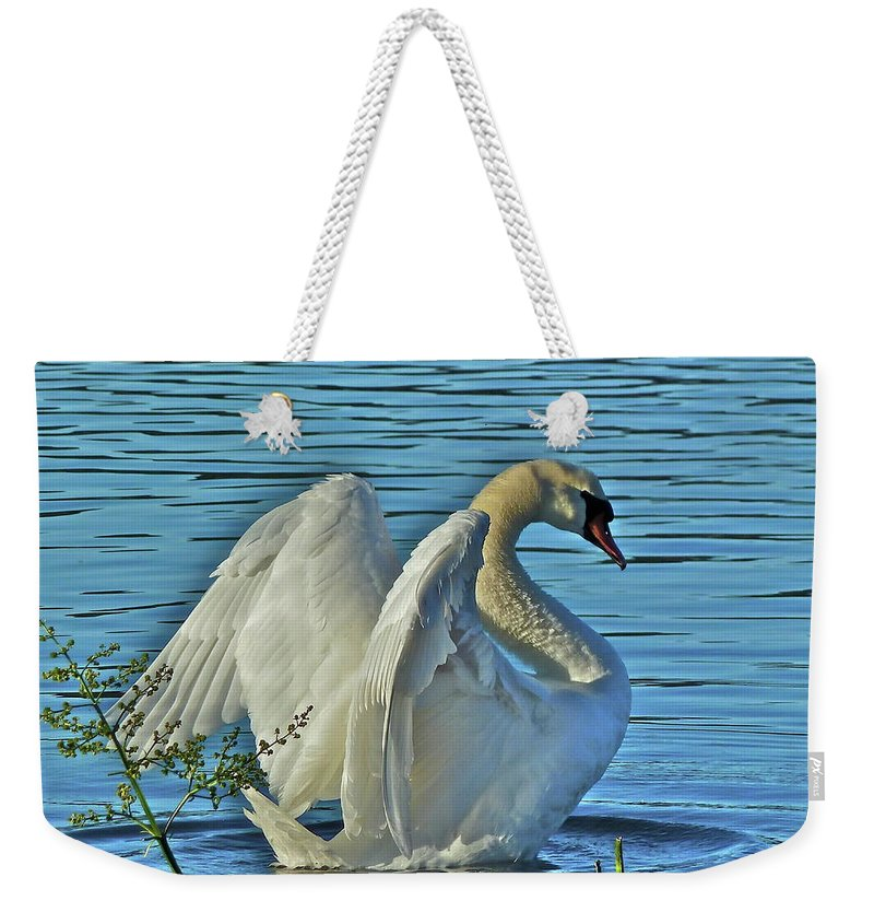 Swan Weekender Tote Bag featuring the photograph Angel Wings by Diana Hatcher