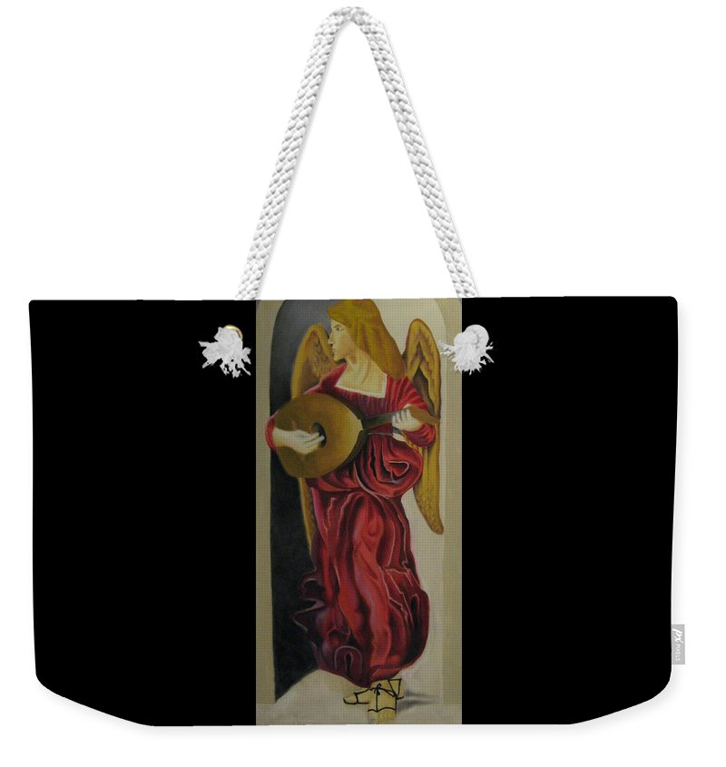 Weekender Tote Bag featuring the painting Angel With Lute by Ronnie Lee