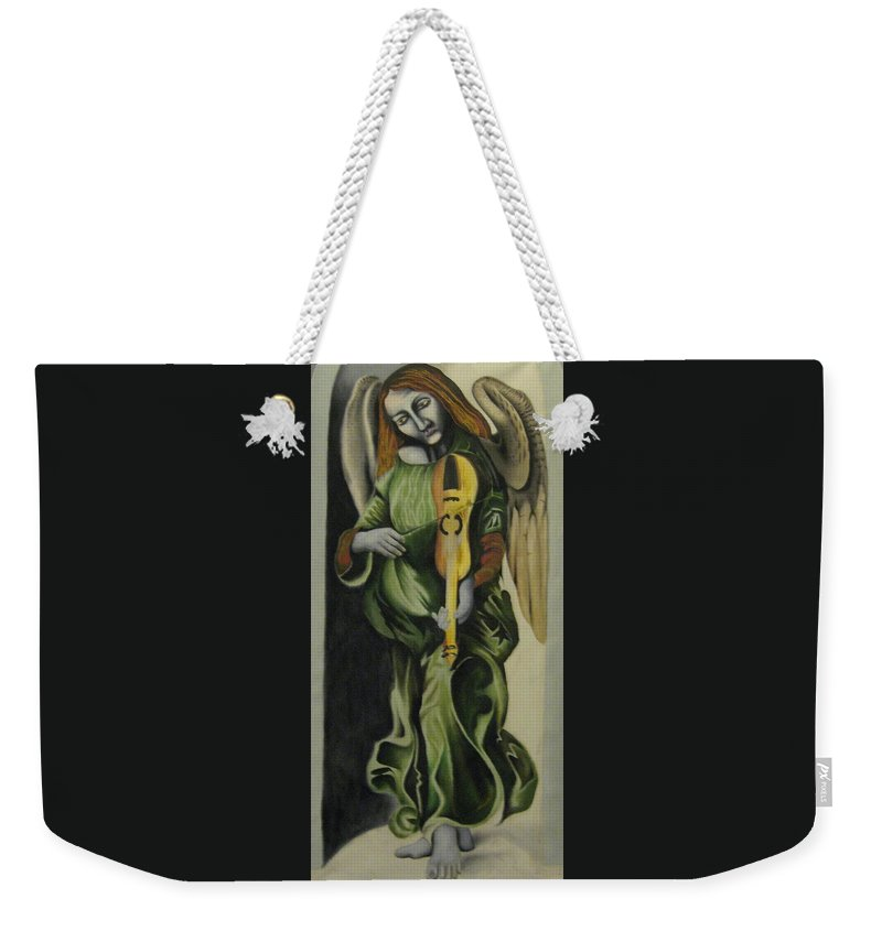Weekender Tote Bag featuring the painting Angel With Violin by Ronnie Lee