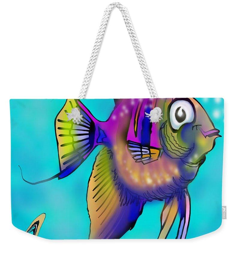 Angelfish Weekender Tote Bag featuring the painting Angelfish by Kevin Middleton
