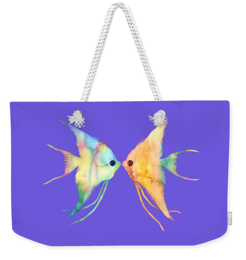Fish Weekender Tote Bag featuring the painting Angelfish Kissing by Hailey E Herrera