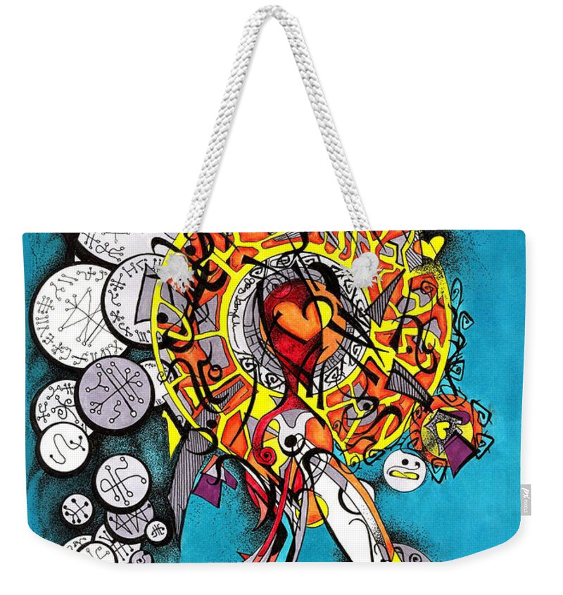 Marker Weekender Tote Bag featuring the drawing Angelic Script Angel by Joey Gonzalez