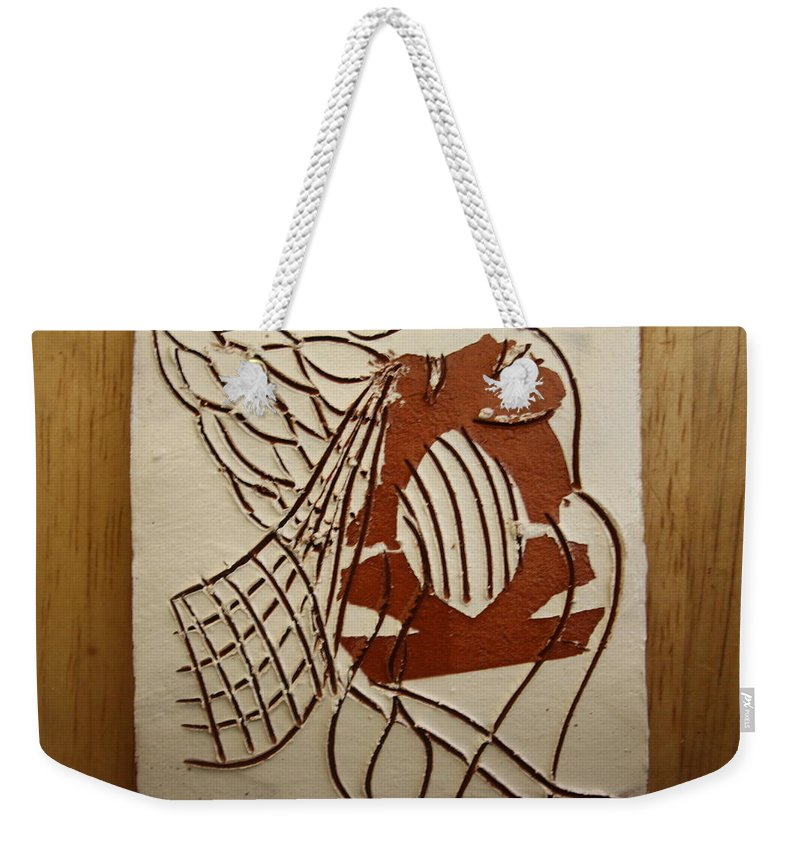 Jesus Weekender Tote Bag featuring the ceramic art Angelica - Tile by Gloria Ssali