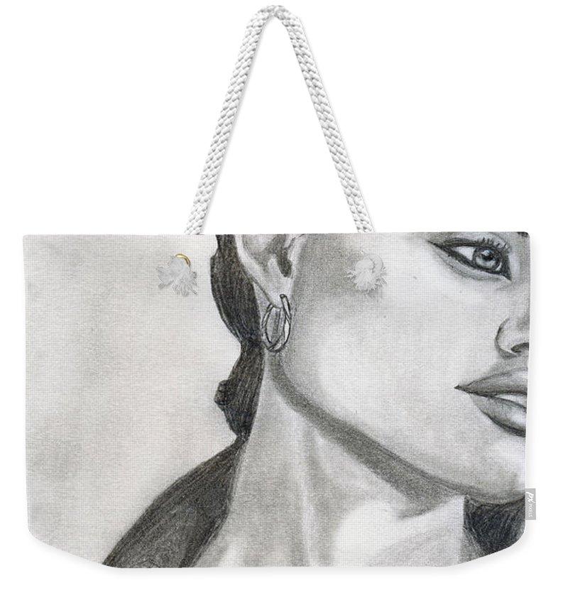 Pencil Weekender Tote Bag featuring the drawing Angelina Jolie by Alban Dizdari