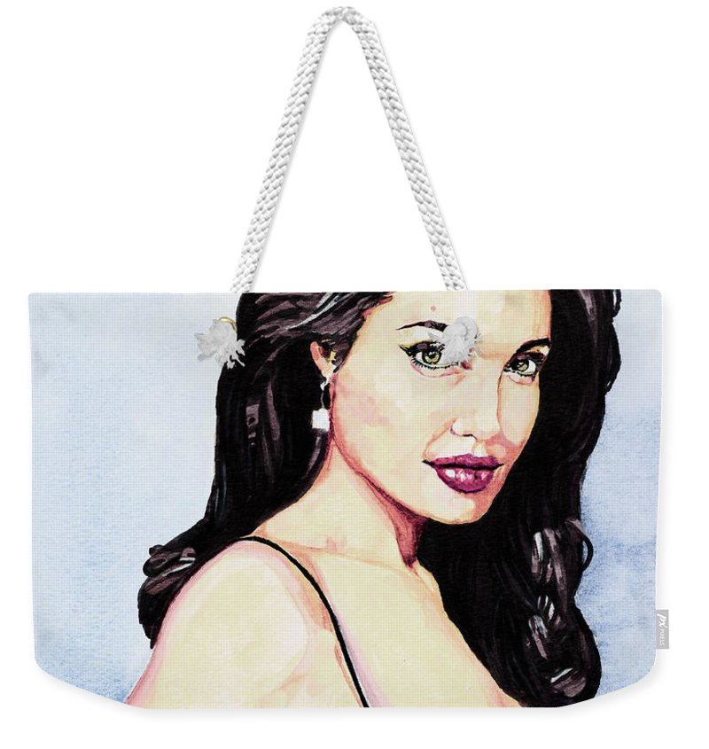 Star Weekender Tote Bag featuring the painting Angelina Jolie Portrait by Alban Dizdari