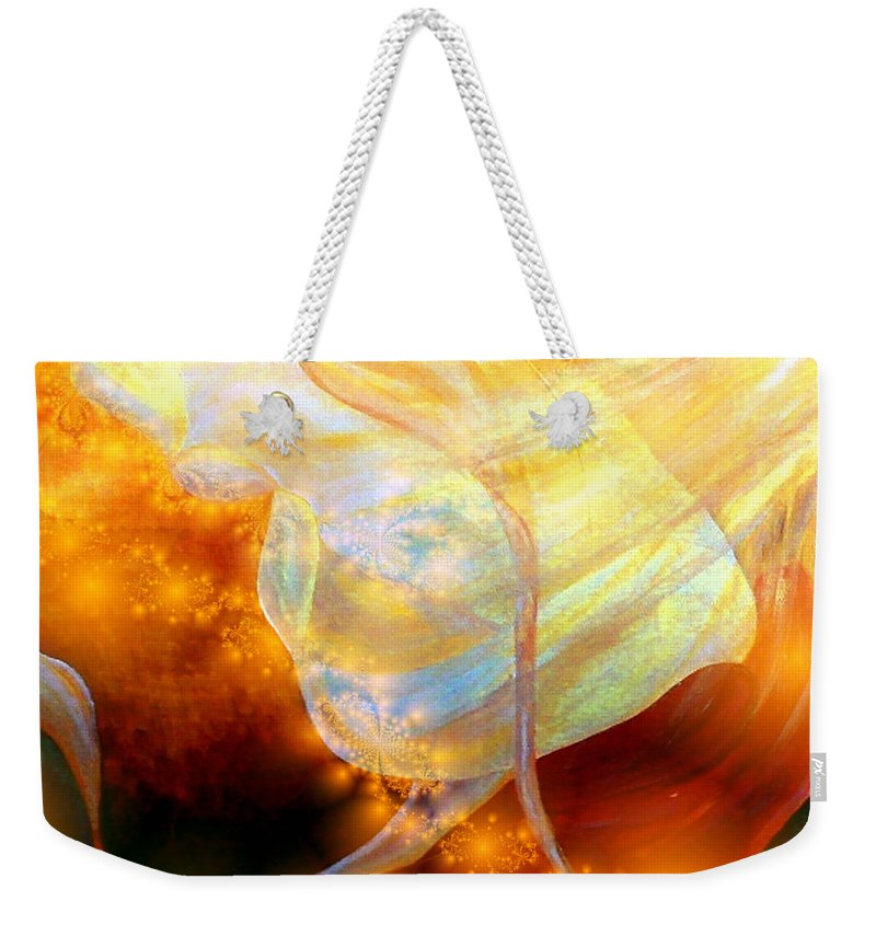 Abstract Weekender Tote Bag featuring the digital art Angels Among Us by Claire Bull