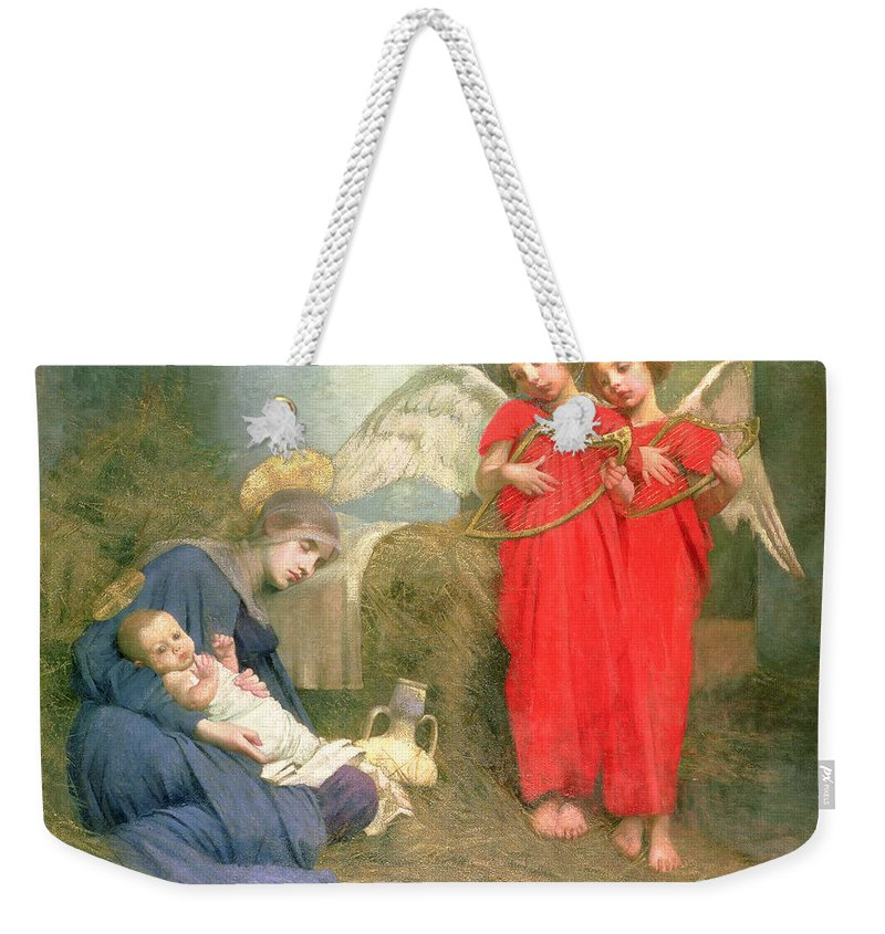 Stable; Lyre; Musical Instrument; Sleeping; Straw Weekender Tote Bag featuring the painting Angels Entertaining The Holy Child by Marianne Stokes