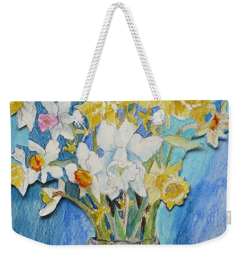 Flowers Weekender Tote Bag featuring the painting Angels Flowers by Jan Bennicoff