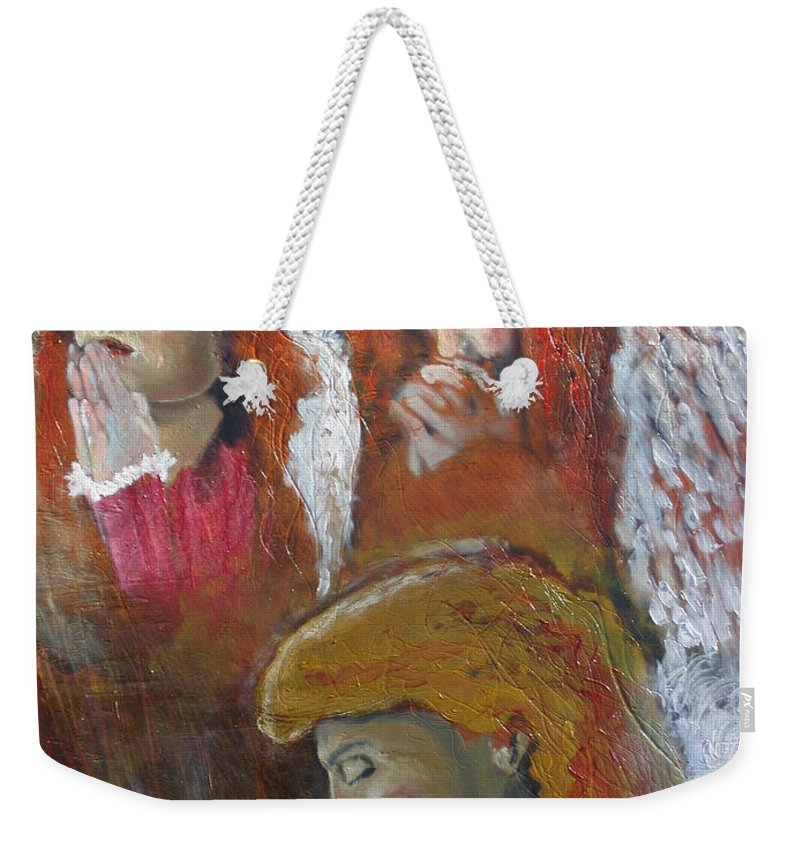 Angels Weekender Tote Bag featuring the painting Angels by J Bauer