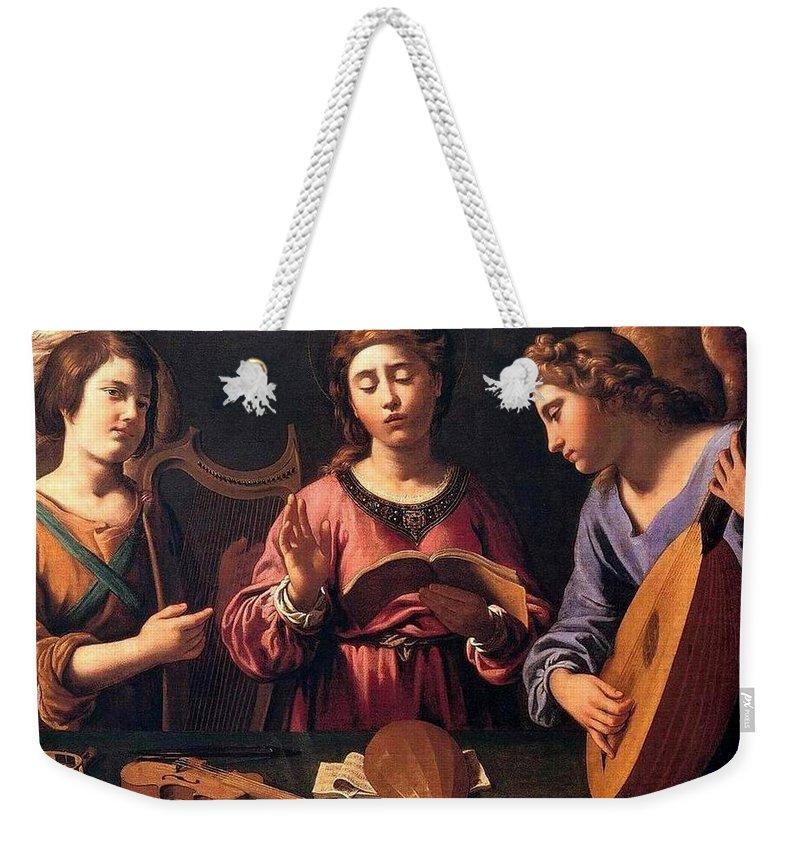 Christmas Weekender Tote Bag featuring the painting Angels Singing by Munir Alawi