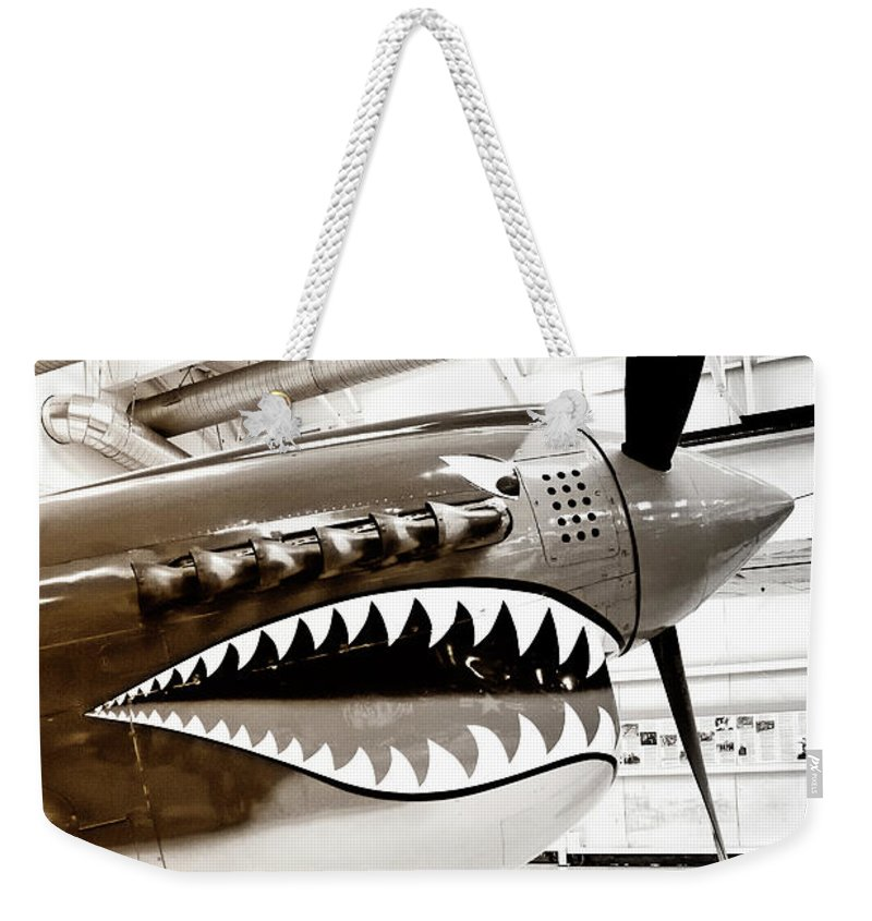 Ps Air Museum Weekender Tote Bag featuring the photograph Anger Management Bw Palm Springs Air Museum by William Dey