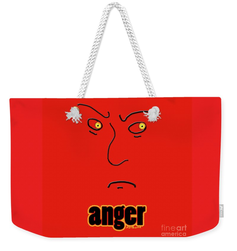 Anger Weekender Tote Bag featuring the digital art Anger by Methune Hively