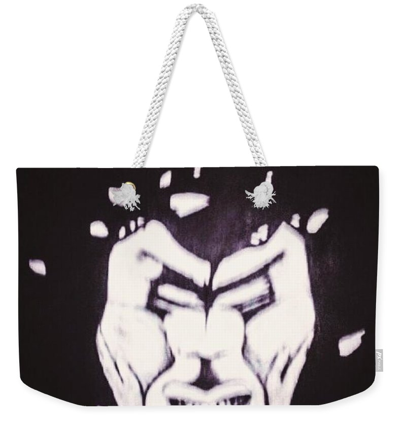 Anger Peace Love Weekender Tote Bag featuring the painting Anger The Break Up by Tyrone Hart