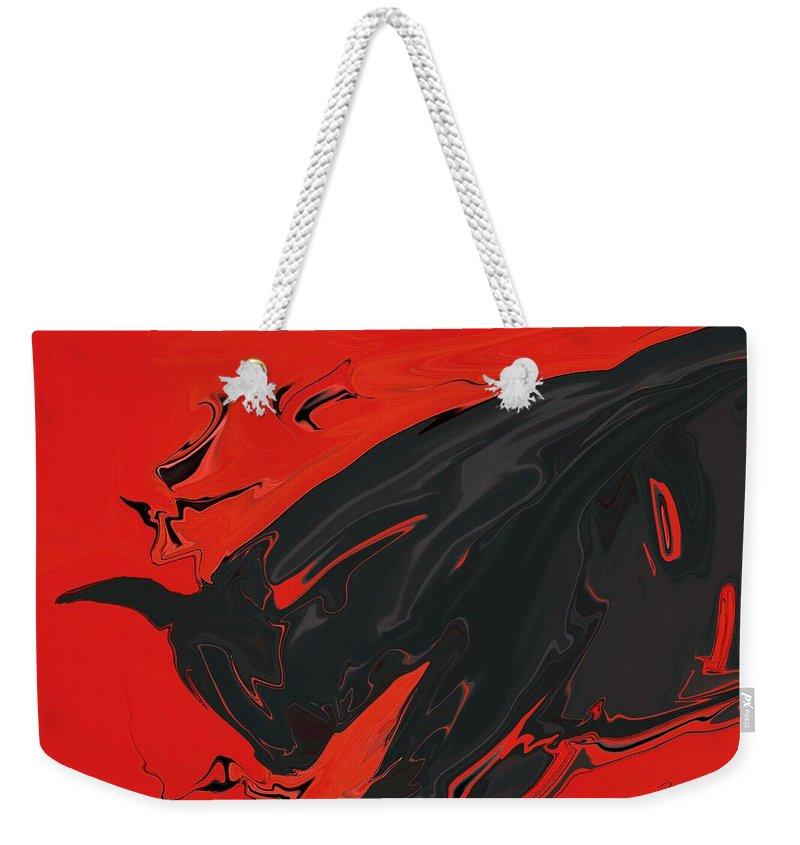 Red Weekender Tote Bag featuring the digital art Angry Bull 2 by Rabi Khan