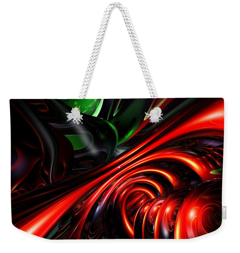 3d Weekender Tote Bag featuring the digital art Angry Clown Abstract by Alexander Butler