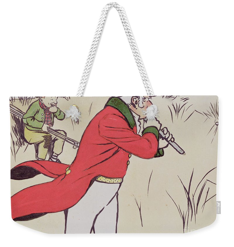 Golf Weekender Tote Bag featuring the drawing Angry Golfer by Cecil Charles Windsor Aldin