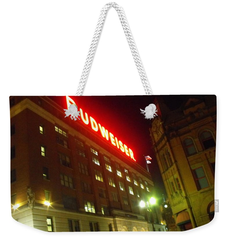 Abstract Weekender Tote Bag featuring the photograph Anheuser-busch Brewery by Ginger Repke