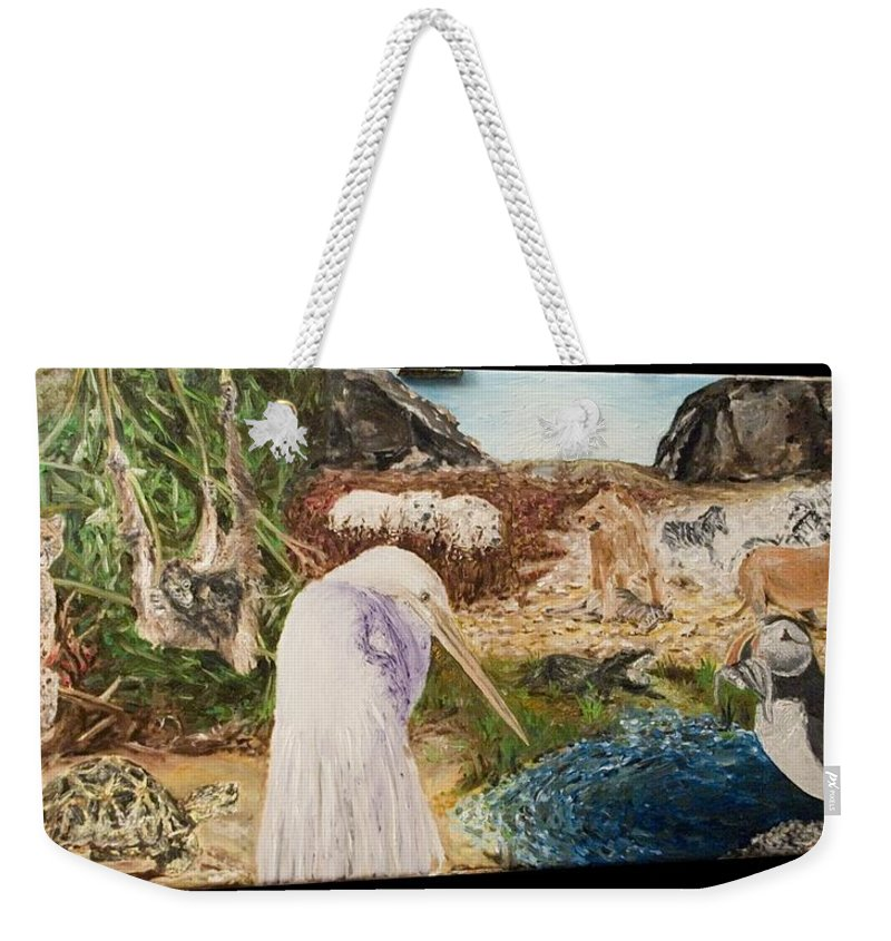 Landscape Weekender Tote Bag featuring the painting Animals Circle by Pablo de Choros