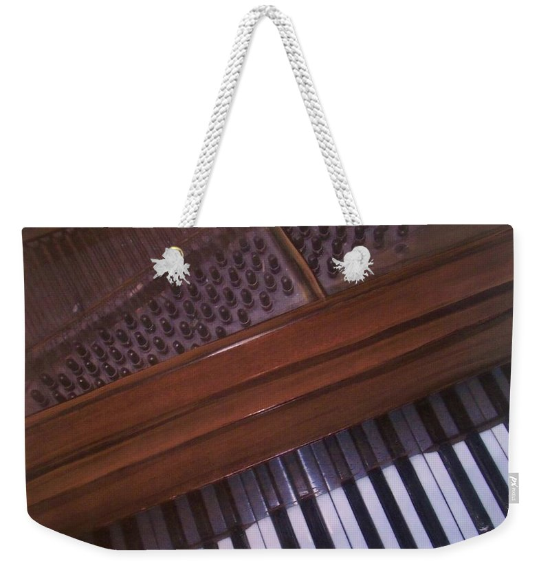Piano Weekender Tote Bag featuring the mixed media Anita's Piano 1 by Anita Burgermeister