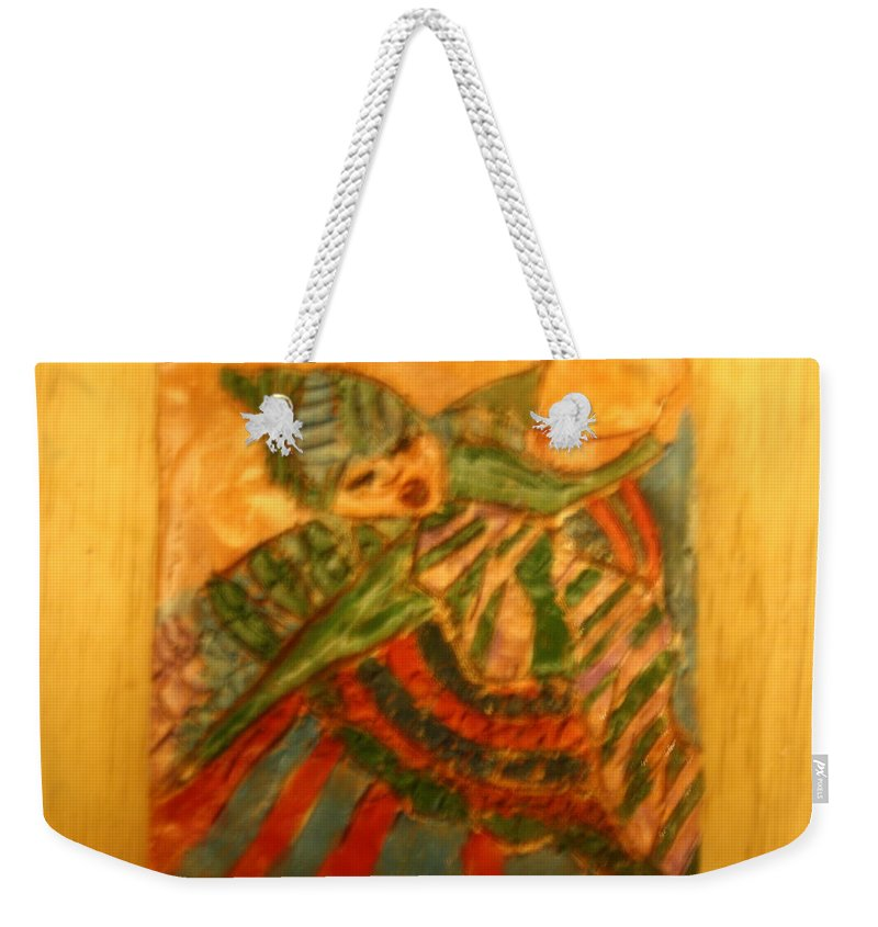 Jesus Weekender Tote Bag featuring the ceramic art Anne - Tile by Gloria Ssali
