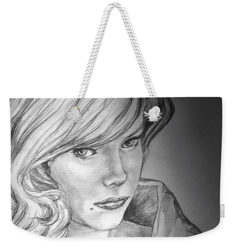 Anne Francis Weekender Tote Bag featuring the drawing Anne Francis by Bryan Bustard