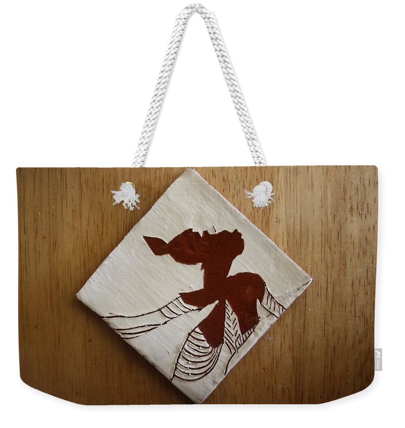 Jesus Weekender Tote Bag featuring the ceramic art Anne Marie - Tile by Gloria Ssali