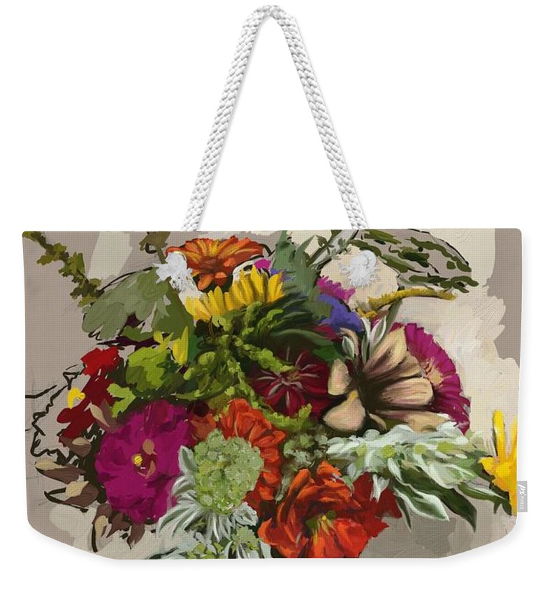 Flowers Weekender Tote Bag featuring the painting Anne's Flowers by Shelley Hanna