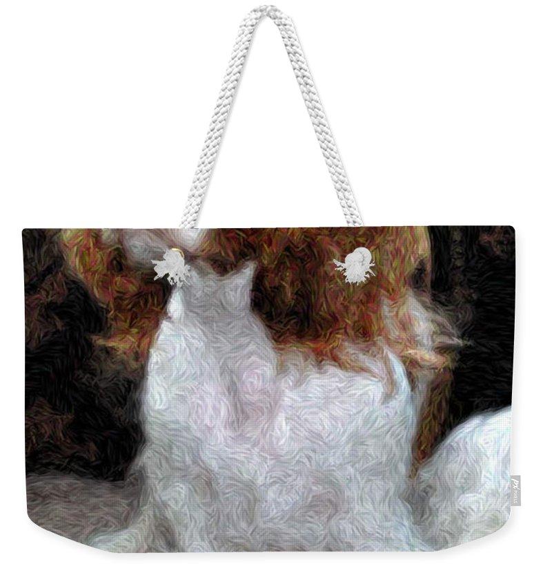 King Charles Spaniel Weekender Tote Bag featuring the painting Annie by Julie Niemela