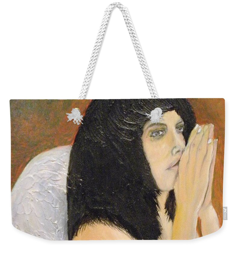 She Prays For All Mankind Weekender Tote Bag featuring the painting Annolita Praying by J Bauer
