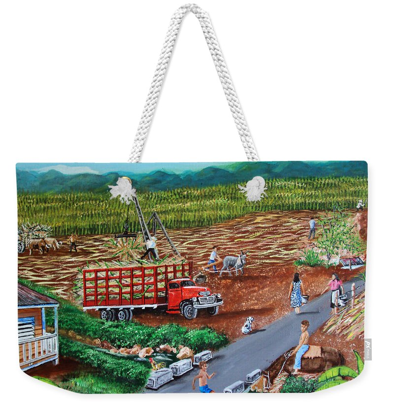 Sugarcane Field Weekender Tote Bag featuring the painting Anoranzas by Luis F Rodriguez