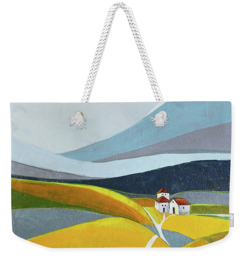 Landscape Weekender Tote Bag featuring the painting Another day on the farm by Aniko Hencz